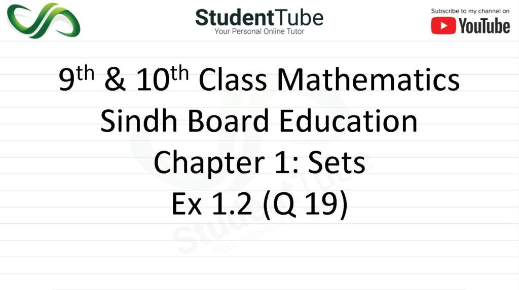 Chapter 1 - Exercise 1.2 Q 19