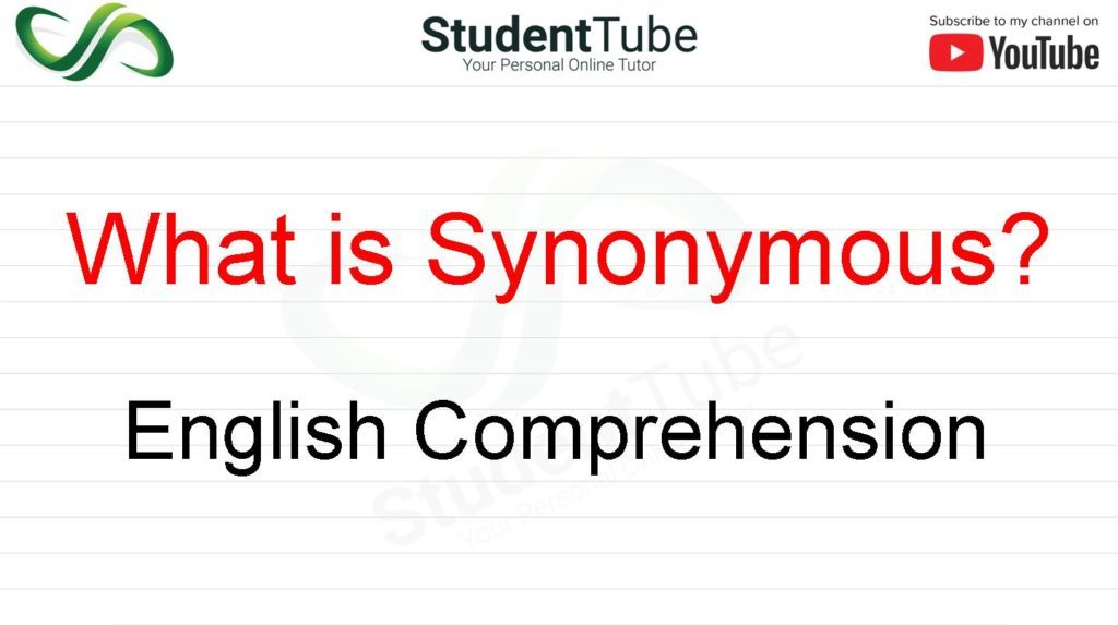 What is Synonymous? - English Comprehension