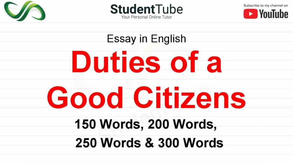 Duties of a Good Citizen or Responsibilities of a Good Citizens