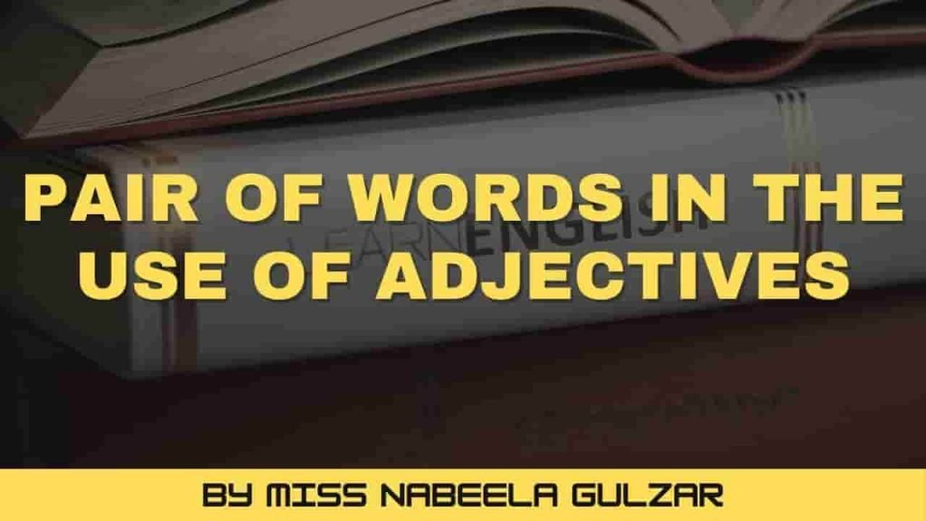 Pair of Words in the use of adjectives-min