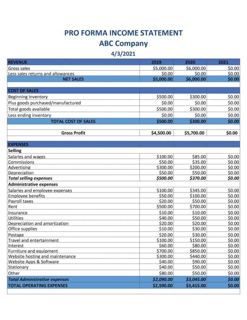Pro forma Income Statement Example 1
