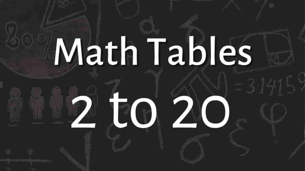 Table of 1 to 20